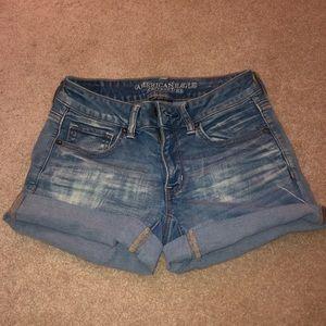 Medium-Wash Cuffed Denim Shorts